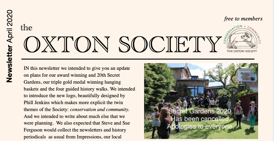 OXTON SOCIETY APRIL NEWSLETTER